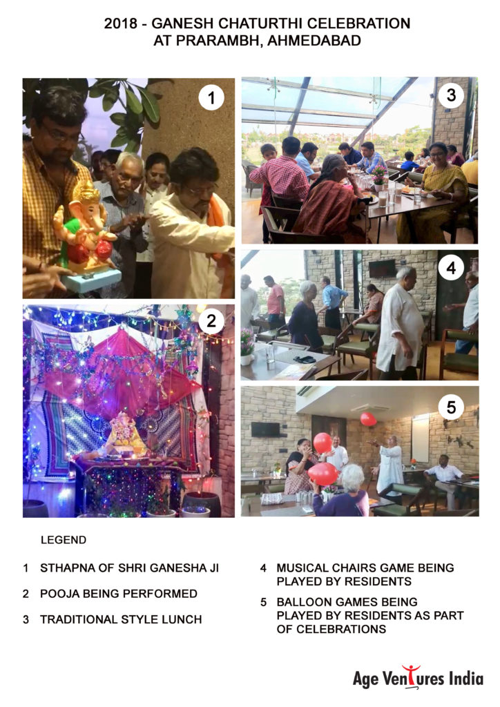 Ganesh Chaturthi celebration at Parambh Retirement Homes under AVI at Ahmedabad